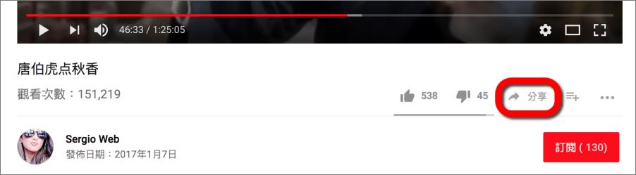 YouTube影片分享特定畫面