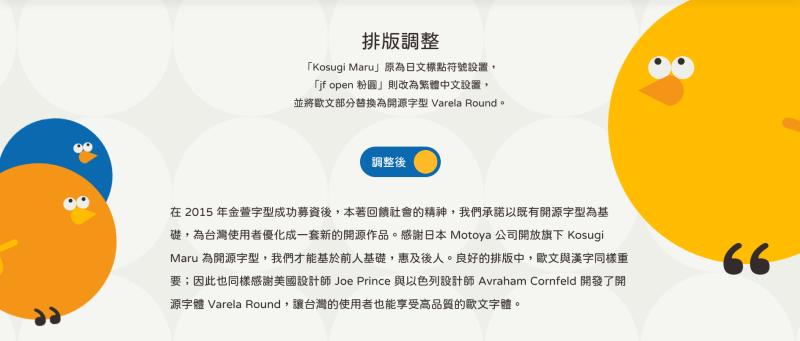 jf open 粉圓字型 排版後