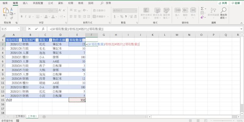 Excel  Ctrl + T 自動帶入公式1
