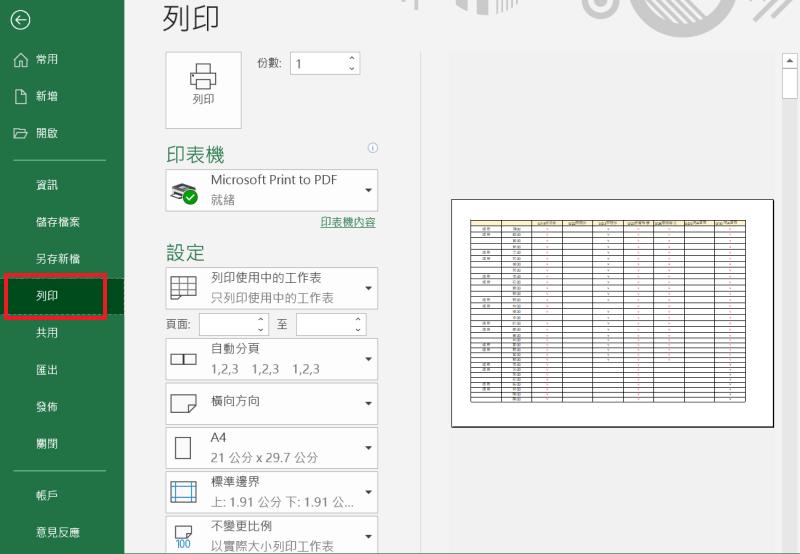 Excel 列印 列印設定