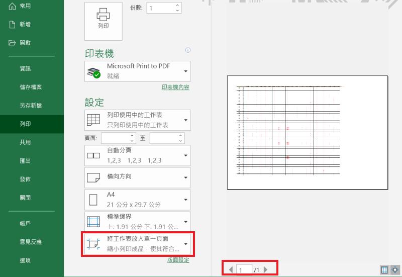 Excel 列印 單一頁面